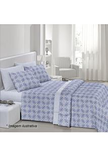 Edredom Fantasia Lino De Casal- Azul & Branco- 190X2Santista