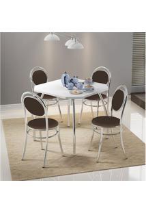 Mesa 1504 Branca Cromada Com 4 Cadeiras 190 Cacau Carraro