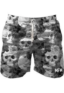 Short Tactel Maromba Fight Wear Gray Skull Com Bolsos Masculino - Masculino