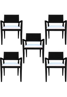 Kit 5 Cadeiras Decorativas Sala De Jantar Megan Preto Linho Bege - Gran Belo