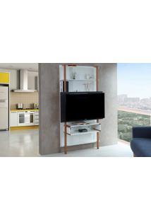 Rack Suspenso - Painel De Madeira Para Tv Branco Com Preto Para Tv Até 42 Polegadas Karl Woodinn - 99,8X25,5X180 Cm