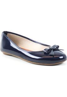 Sapatilha Tag Shoes Verniz Laço Bico Redondo Feminina - Feminino-Azul