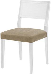 Cadeira Caiscais Assento Cor Bege Com Base Laca Branco Fosco - 46498 - Sun House