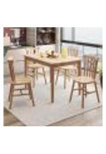 Conjunto De Mesa Milena Com 4 Cadeira Madeira Uva Japão-Natural