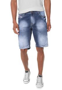 Bermuda Jeans Rowers Reta Desgastes Azul