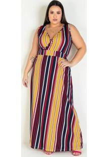 Vestido Longo Listrado Com Transpasse Plus Size