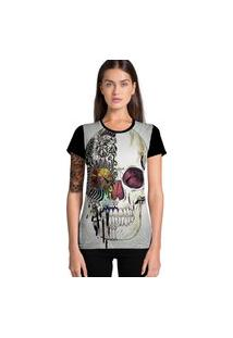 Camiseta Feminina Ramavi Skull Manga Curta