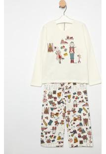 Pijama Manga Longa & Calã§A- Creme & Rosa Clarosonhart