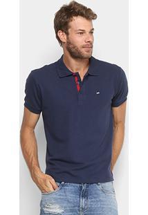 Camisa Polo Gangster Piquet Com Elastano Masculina - Masculino-Marinho