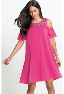 Vestido Com Renda E Ombros Vazados Rosa Pink