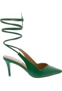 Scarpin Bebecê Salto Fino Com Amarração Verde Verd