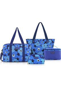 Kit Bolsa C/ 4 Peças Jacki Design Poliéster - Feminino-Azul