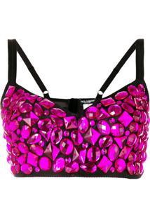 Dolce & Gabbana Blusa De Seda Com Aplicações - Rosa