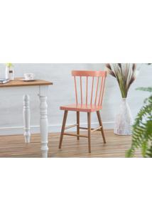 Cadeira De Madeira Maciça Folk Verniz Jatobá E Rosa Coral 45X46X83Cm