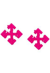 Off-White Par De Brincos Com Logo De Setas - Rosa
