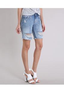 Bermuda Jeans Feminina Destroyed Azul Claro