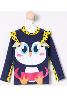Camiseta Pinguim Com Babados- Azul Marinho & Amarelapuket