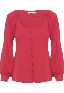 Camisa Feminina Bufante Linho - Vermelho