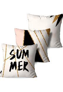Kit Com 3 Capas Para Almofadas Pump Up Decorativas Summer 45X45Cm