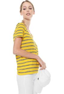 Camiseta Lacoste Listrada Amarela