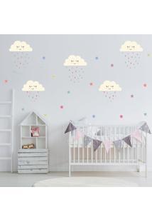 Adesivo De Parede Infantil Quartinhos Nuvens Chuva De Amor Colorido