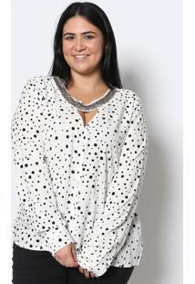 Blusa Poás Com Bordados - Branca & Pretaendless
