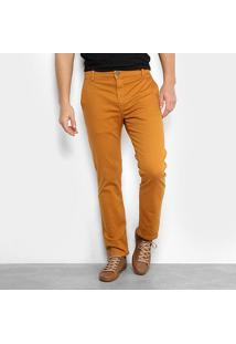 Calça Sarja Reta Ellus Color Power Straight Bolso Faca Masculina - Masculino-Marrom Claro