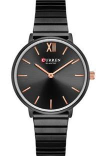 Relógio Curren Analógico C9040L Feminino - Feminino-Preto