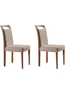 Conjunto Com 2 Cadeiras De Jantar Lívia Creme