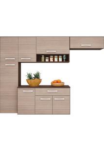 Cozinha Compacta Suspensa Poquema 8 Portas 1 Gaveta Anita Capuccino/Amãªndoa - Marrom - Dafiti