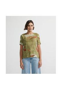 Blusa Em Viscose Com Estampa De Folhagem   Marfinno   Verde Escuro   P