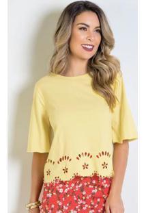 Blusa Amarela Com Detalhes Em Laser