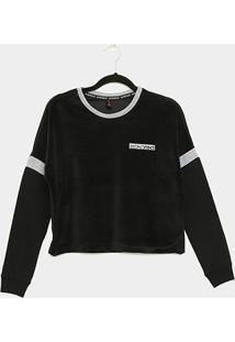 Camiseta Cropped Ecko Manga Longa Feminina - Feminino-Preto