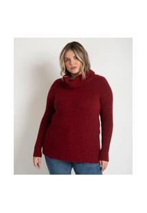 Blusão Suéter Alongado Em Tricô Com Gola Boba Curve & Plus Size | Ashua Curve E Plus Size | Vermelho | Eg