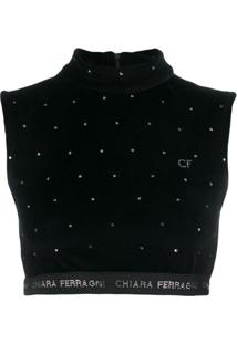 Chiara Ferragni Blusa Cropped Com Logo - Preto