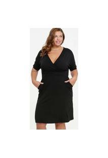 Vestido Feminino Decote Transpassado Bolsos Plus Size