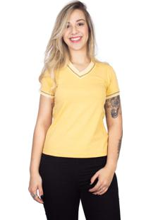 Camiseta 4 ÁS Amarela Manga Curta Sanfonada - Amarelo - Feminino - Dafiti
