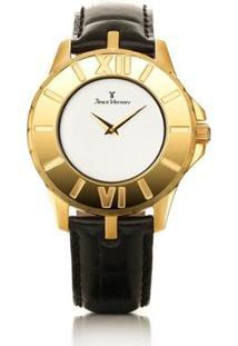 Relógio Jean Vernier Pulseira Couro Vidro Cristal Feminino - Feminino-Preto+Dourado