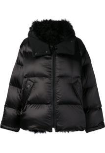 Yves Salomon Army Fur Trimmed Puffer Jacket - Preto