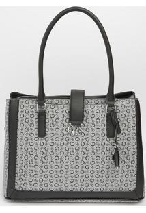 Bolsa Com Recortes & Bag Charm- Cinza & Preta- 25X34Guess