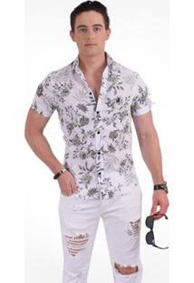 Camisa Horus Social Manga Curta Slim Floral - Masculino-Verde
