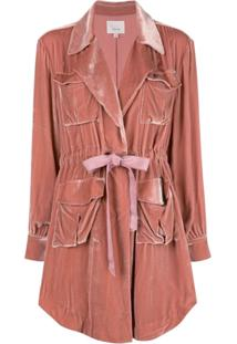 Cinq A Sept Trench Coat De Veludo - Rosa