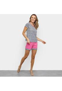 Pijama Lupo Loba Listrado Feminino - Feminino-Rosa