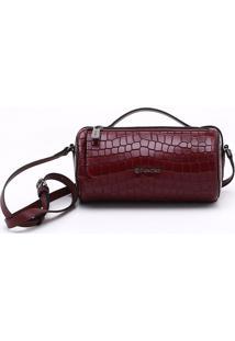 Bolsa Shoulder Bag Couro Croco Burgundy - M