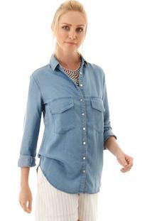 Camisa Jeans Leve Com Bolsos Frontais E Detalhe De Recorte Pala Nas Costas