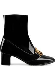 Gucci Ankle Boot 'Double G' De Couro Envernizado - Preto