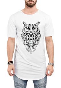 Camiseta Criativa Urbana Long Line Oversized Coruja Tribal Tattoo Corpo Inteiro - Masculino