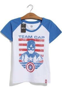 Camiseta Feminina Marvel Guerra Civil Time Capitão América - Feminino-Branco