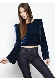 00e7728fd R$ 84,99. Privalia Blusa Em Veludo - Azul Escuro - Colccicolcci