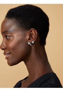 Amaro Feminino Ear Cuff Folheado Com Cristais, Prata